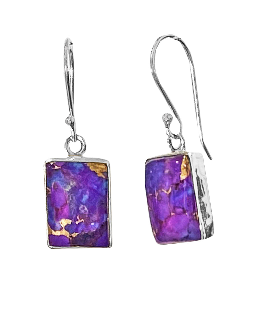 Purple Copper Turquoise Sterling Silver Earrings