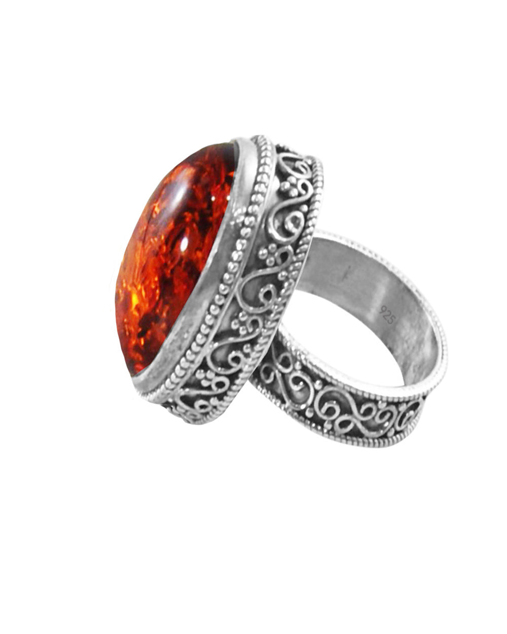 Radiant Amber Sterling Silver Statement Ring