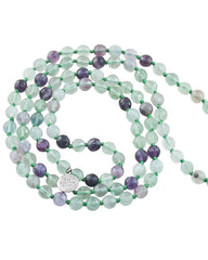 Rainbow Fluorite Mala 108 Beads Mala with Silver Lotus Guru Bead - Fresh Start and Balance