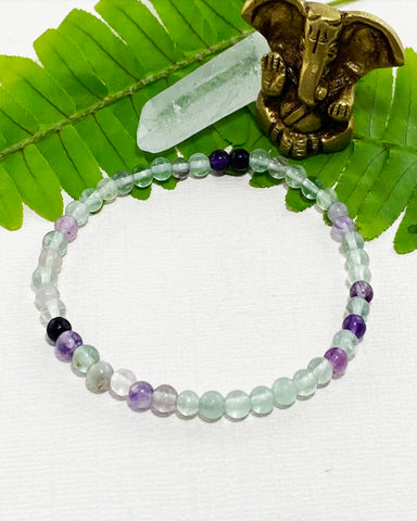 Rainbow Fluorite Mini Gemstone Energy Bracelet