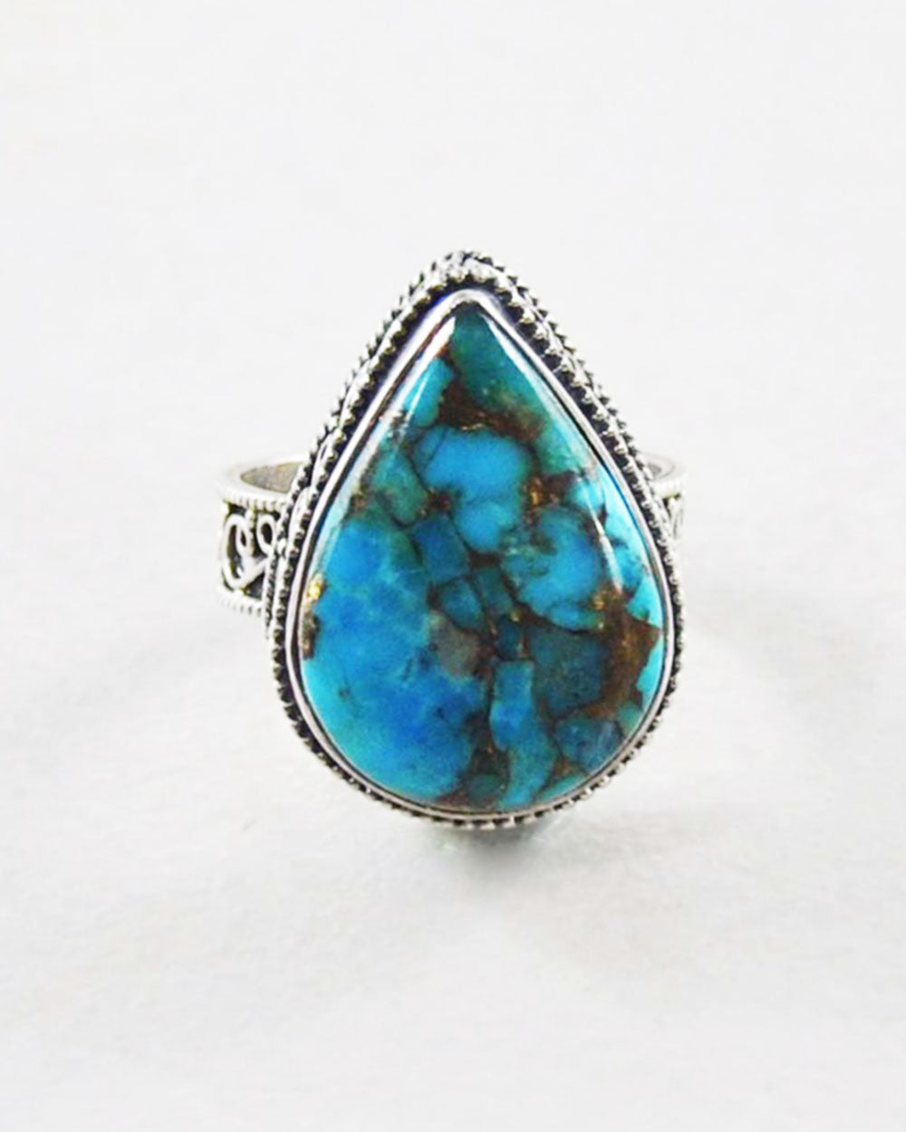 Rajah Blue Copper Turquoise Sterling Silver Statement Ring