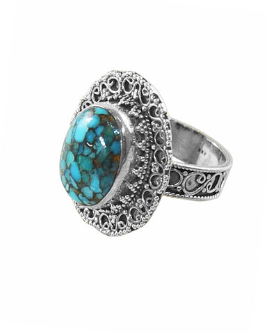 Rani Blue Copper Turquoise Sterling Silver Statement Ring