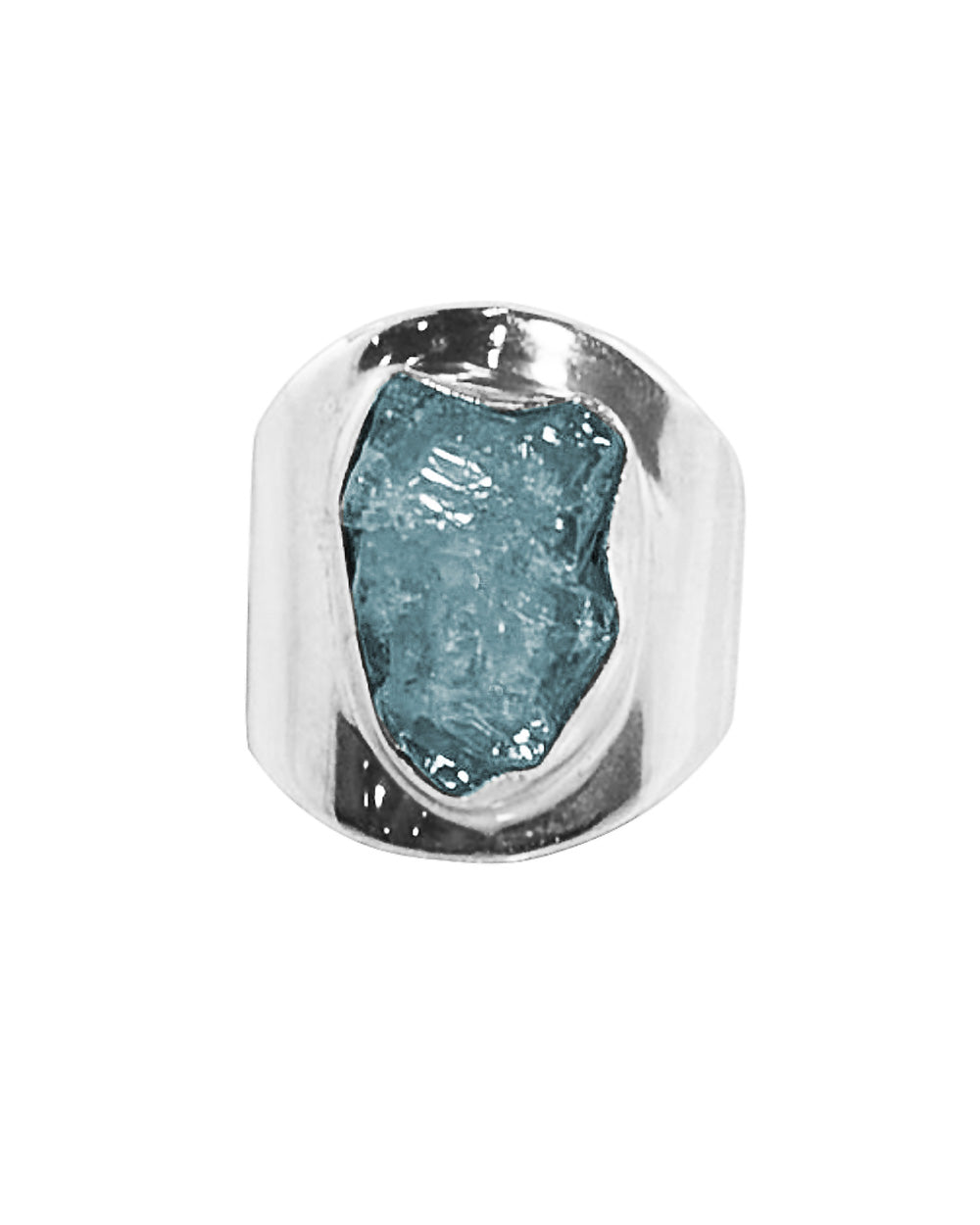 Raw Aquamarine Crystal Statement Pinky Ring in Sterling Silver