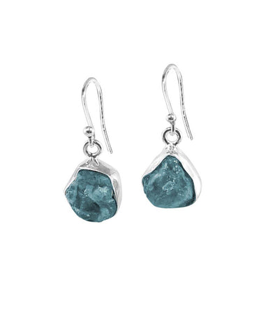 Apatite Raw Crystal Earrings in Sterling Silver