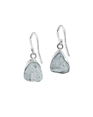 Aquamarine Raw Crystal Earrings in Sterling Silver
