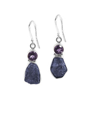 Iolite and Amethyst Raw Crystal Earrings in Sterling Silver