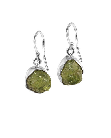Peridot Raw Crystal Earrings in Sterling Silver