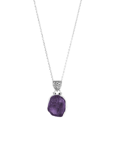 Amethyst Raw Crystal Pendant Necklace in Sterling Silver