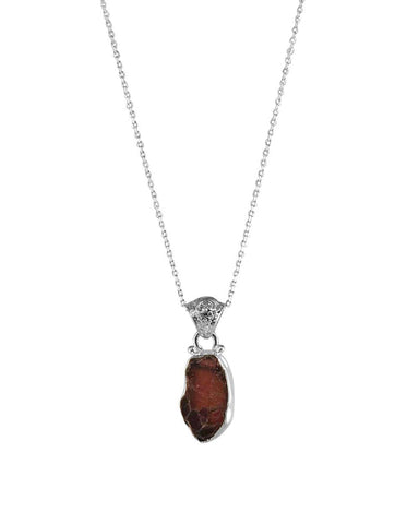 Garnet Raw Crystal Pendant Necklace in Sterling Silver
