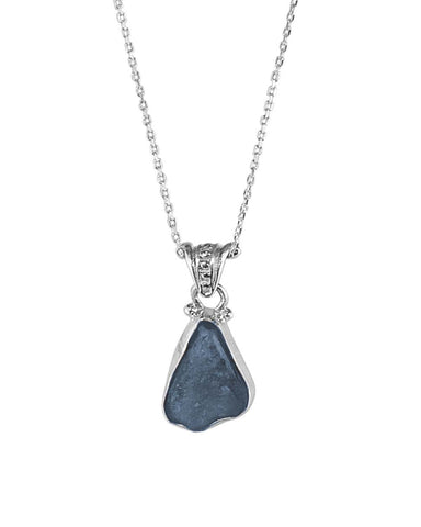 Iolite Amethyst Raw Crystal Pendant Necklace in Sterling Silver