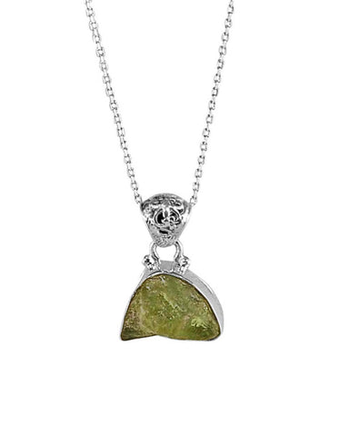 Peridot Raw Crystal Pendant Necklace in Sterling Silver
