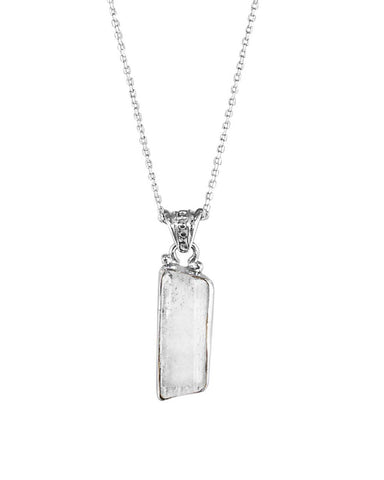 Raw Crystal Quartz Pendant Necklace in Sterling Silver