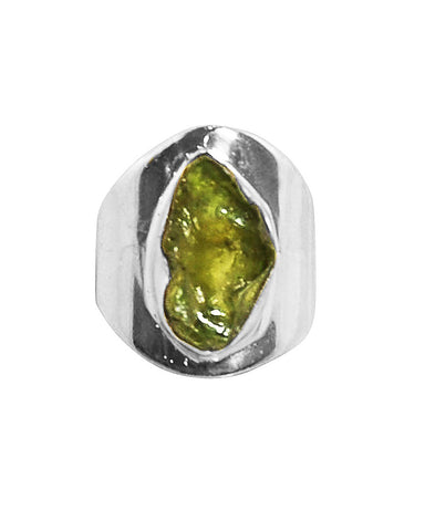 Raw Peridot Crystal Statement Pinky Ring in Sterling Silver