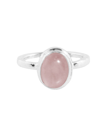 Rose Quartz Pinky Ring in Sterling Silver