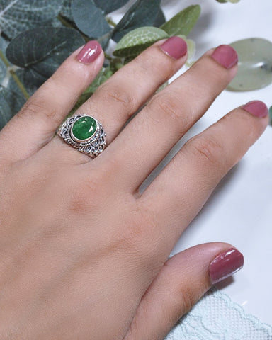Royalty Cushion Cut Raw Emerald Ring in 925 Sterling Silver