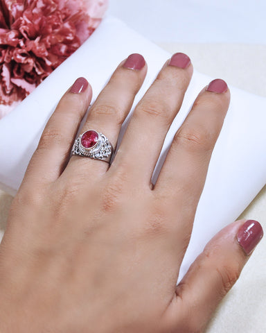 Royalty Cushion Cut Raw Ruby Ring in 925 Sterling Silver