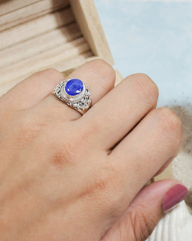 Royalty Cushion Cut Raw Sapphire Ring in 925 Sterling Silver