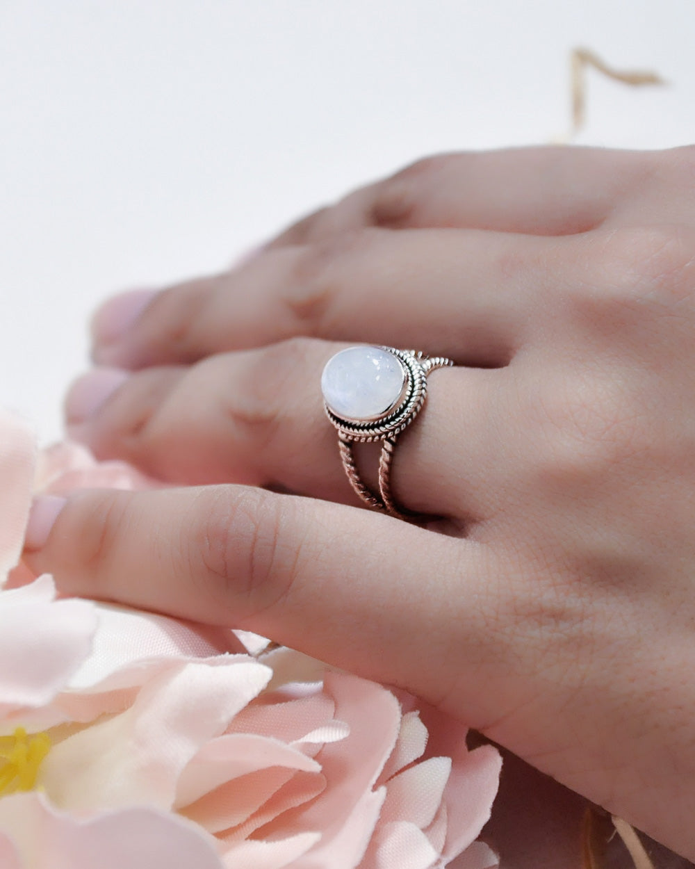 Selene Large Oval Moonstone Sterling Silver Ring