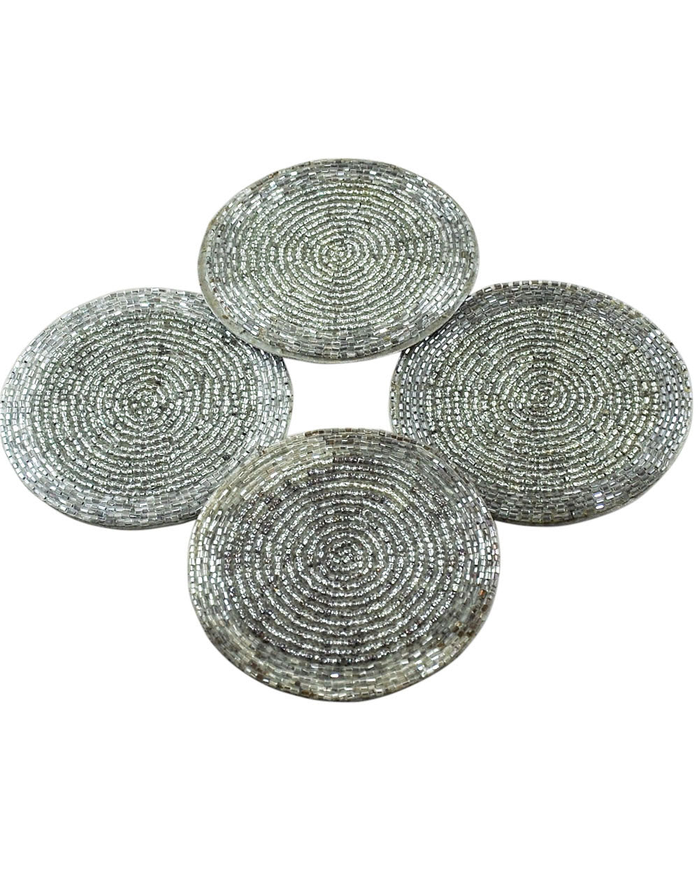 Silver Beaded Coaster Set of 4
