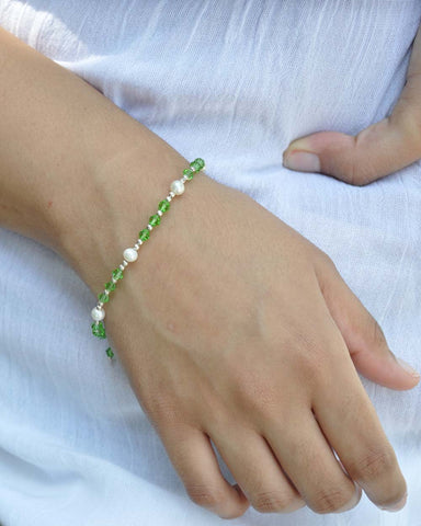 Abundance Green Crystal and Pearl Sterling Silver Bracelet