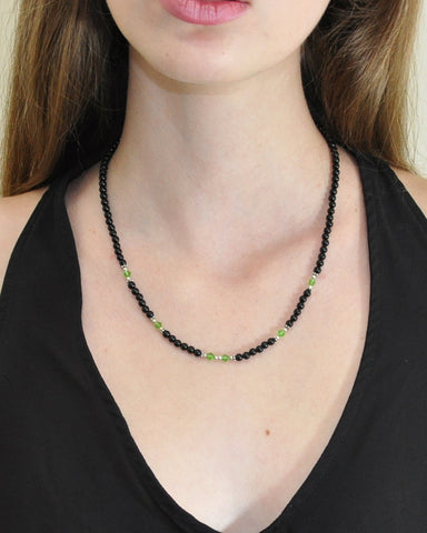 Abundance Green Crystals and Black Onyx Necklace