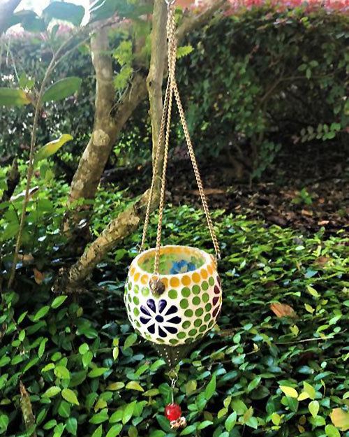 Alagir Colorful Glass Mosaic Hanging Candle Votive