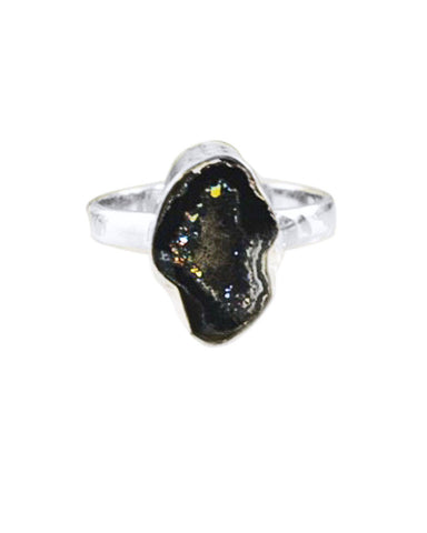 Raw Agate Druzy Crystal Pinky Ring in Sterling Silver