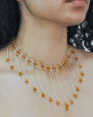 Amber Crystals Cascading Choker Necklace in Sterling Silver