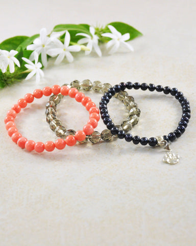Animal Lovers Paw Mini Gemstone Bracelet Set