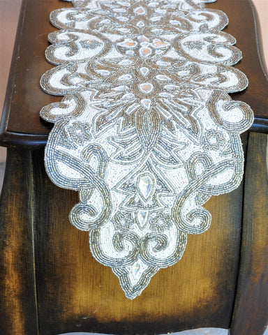 Luxury Table Runner with Silver and White Glass Beads Embroidery