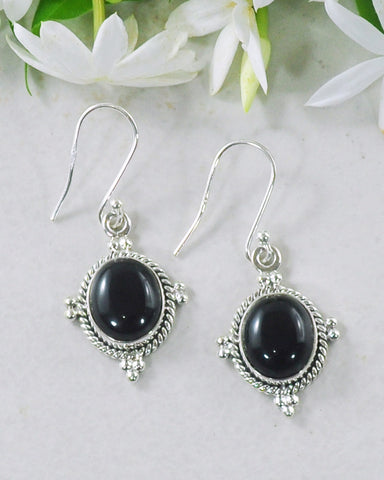 Bhakti Black Onyx Earrings in Sterling Silver