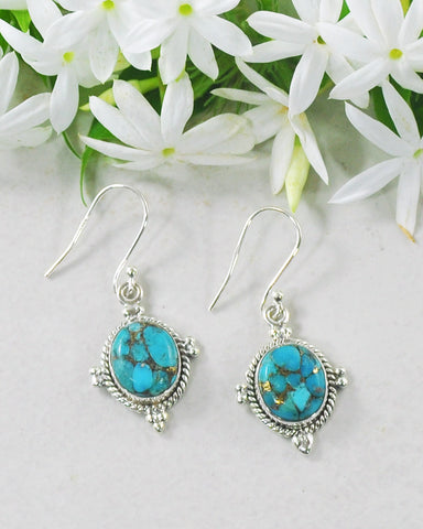 Bhakti Blue Copper Turquoise Earrings in Sterling Silver