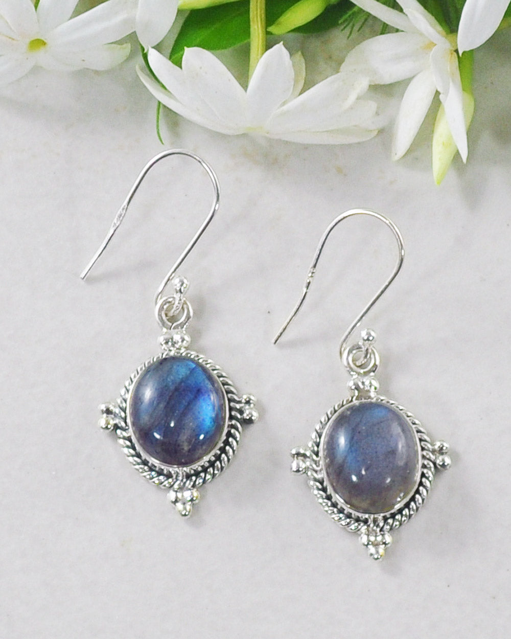 Bhakti Labradorite Earrings in Sterling Silver