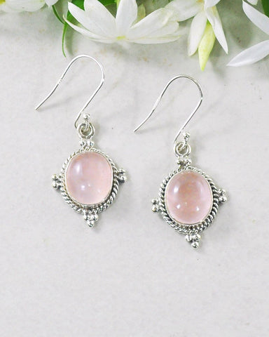 Bhakti Rose Quartz Earrings in Sterling Silver
