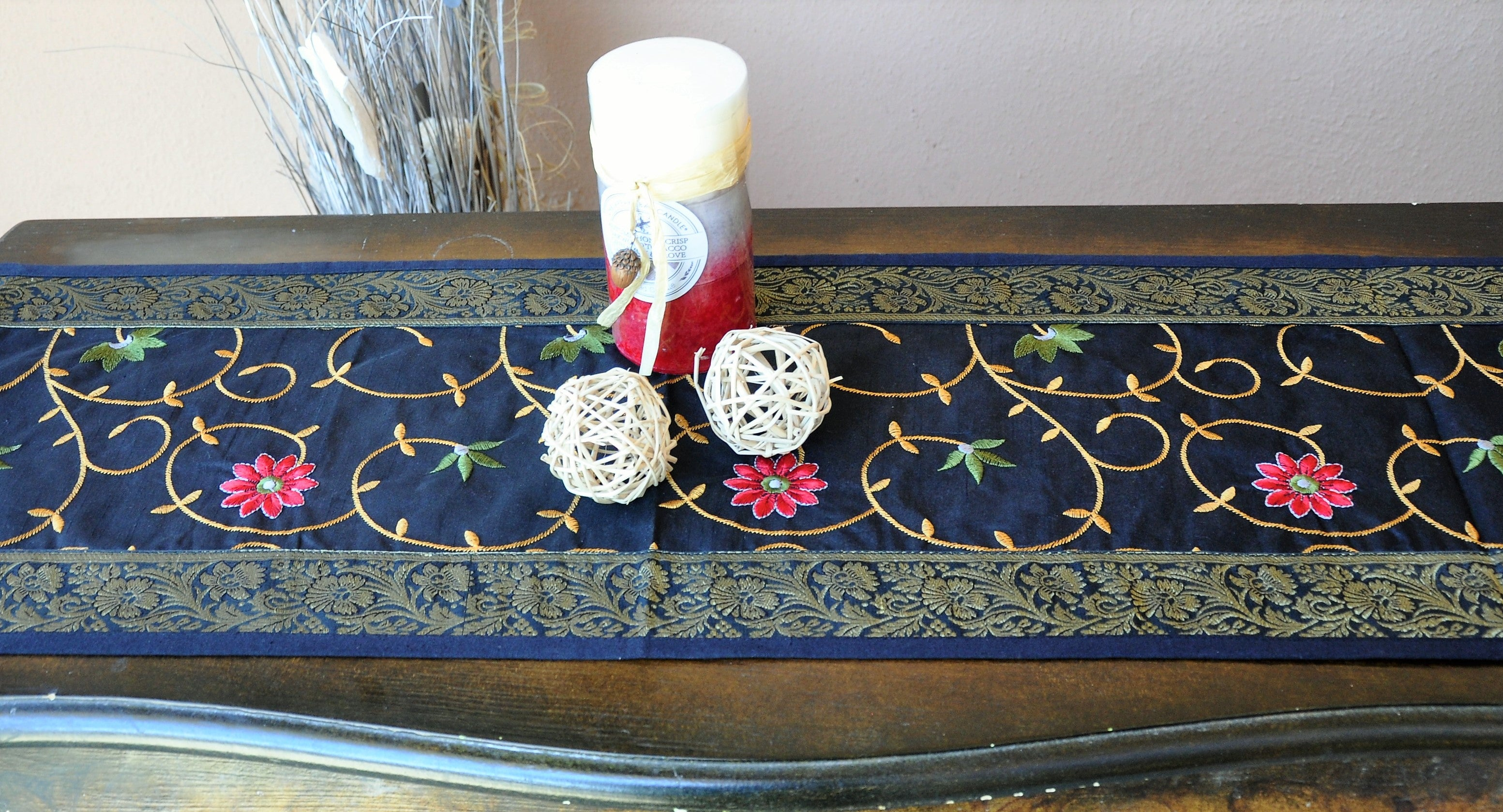 "Black Luxury Silk Table Runner with Brocade Border in Antique Gold 60"" x 12"""