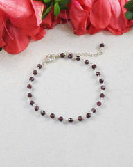 Blessed Friendship Garnet Sterling Silver Bracelet