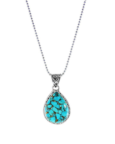 Blue Copper Turquoise Sterling Silver Pendant Necklace - Tear Drop
