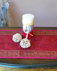"Deep Red Luxury Silk Table Runner with Embroidery and Brocade Gold Border 60"" x 12"""