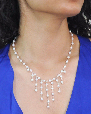 Cascades White Pearls Layered Necklace