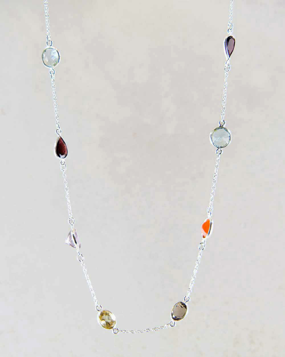Celestial Multi Gemstone Sterling Silver Necklace