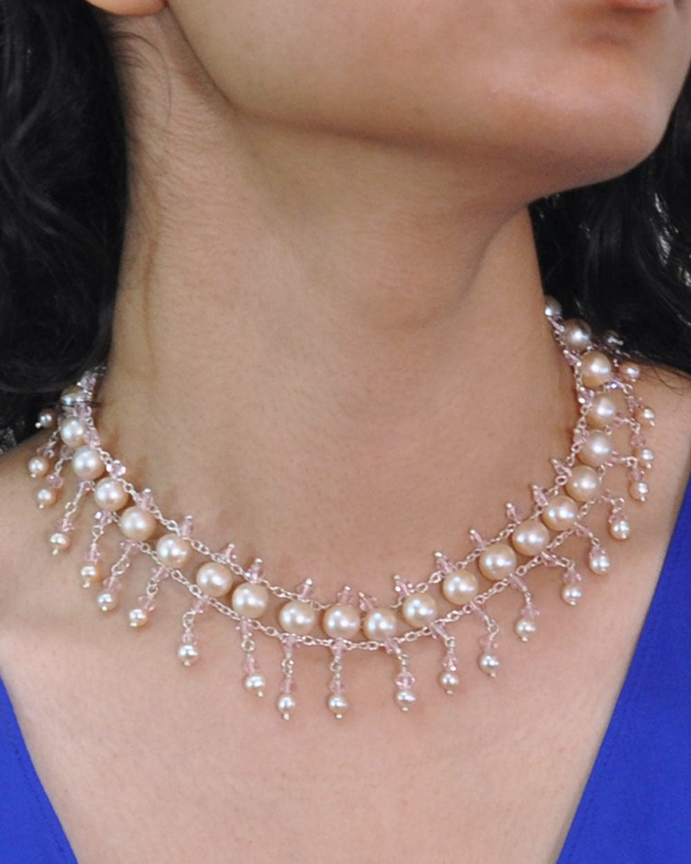 Chic Peach Pearls and Crystals Choker in Sterling Silver