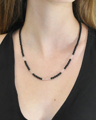 New Love Pink Crystals and Black Onyx Necklace