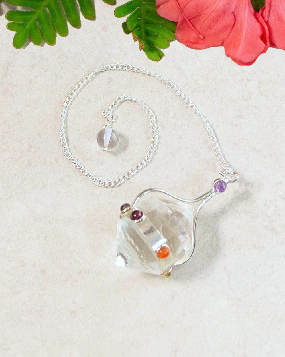 Clear Quartz Sphere Pendulum with 7 Chakra Stones