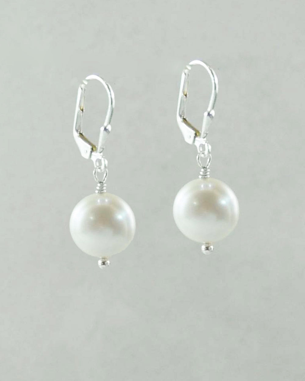 Coin Pearl Earrings in Sterling Silver