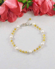 Confidence Yellow Crystal and Pearl Sterling Silver Bracelet