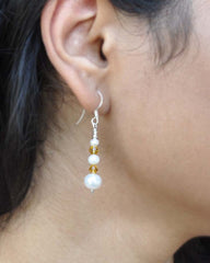 Confidence Pearls and Yellow Crystals Sterling Silver Earrings