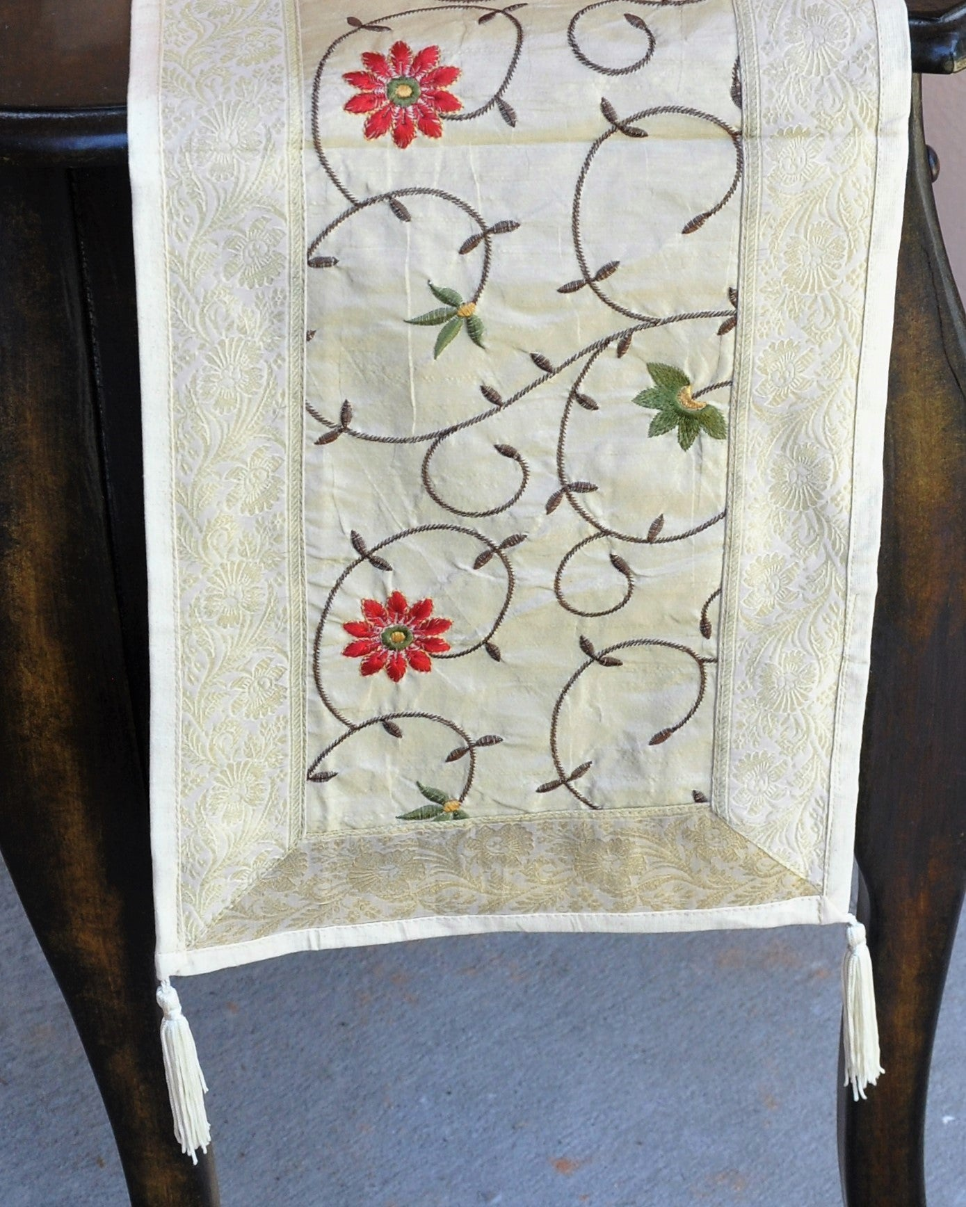 "Cream Luxury Silk Table Runner with Brocade Border in Antique Gold 60"" x 12"""