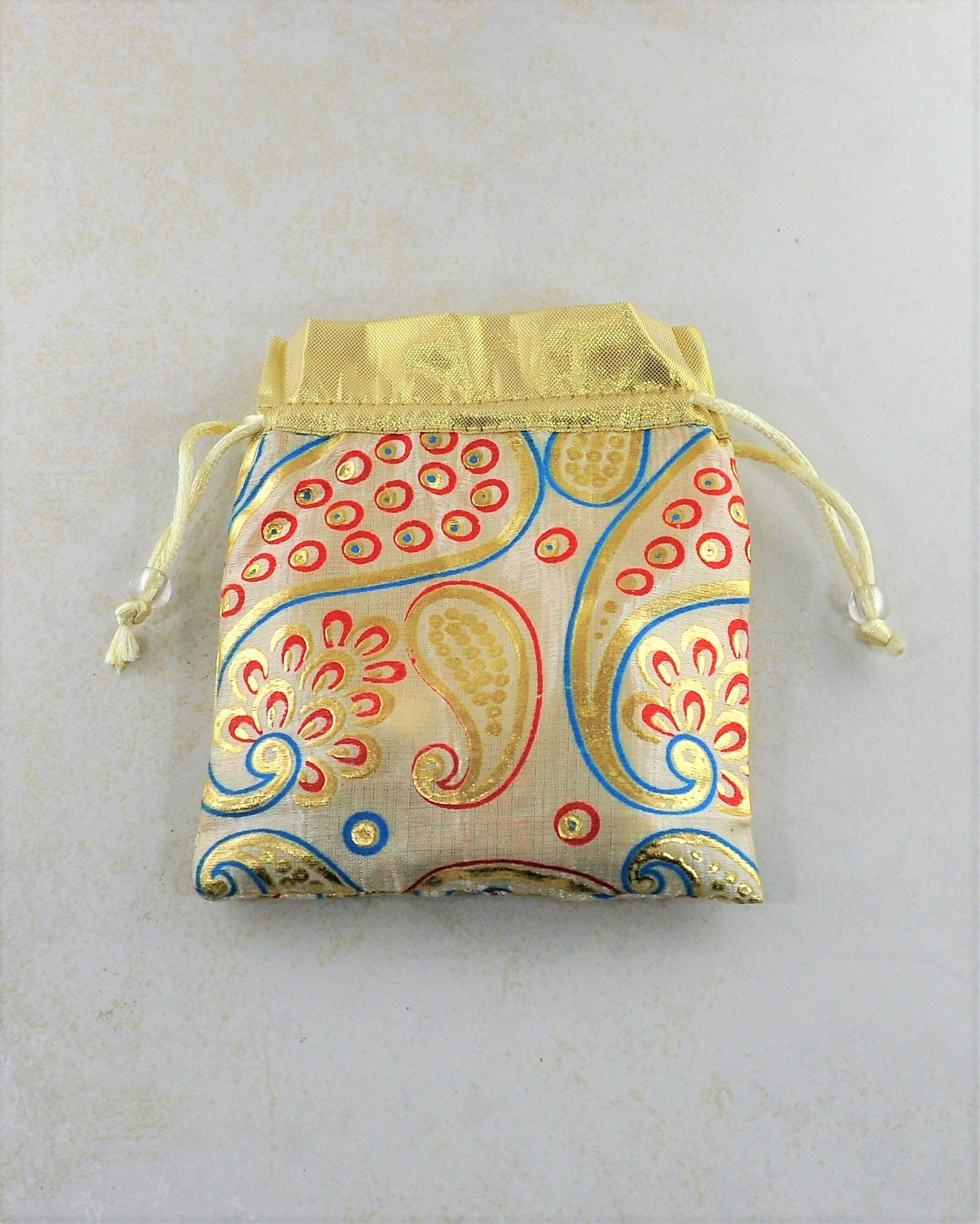 Cream and Gold Silk Gift Pouch