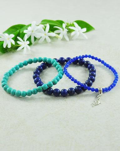 Deep Ocean Dolphin Mini Gemstone Bracelet Set