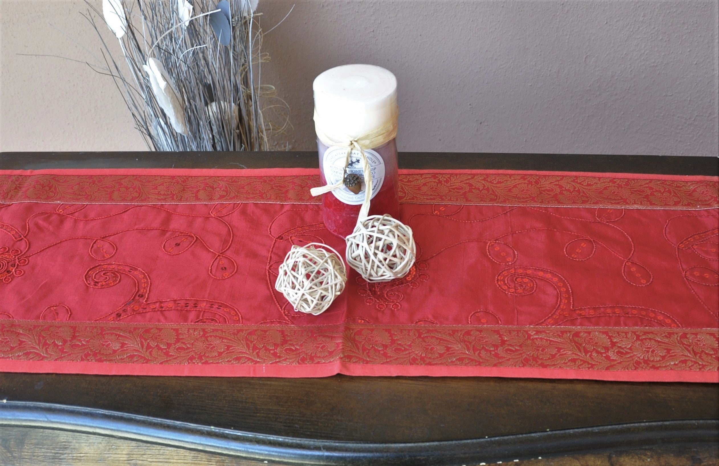 "Burgundy Luxury Silk Table Runner with Sequins Embroidery and Antique Gold Border 60"" x 12"""